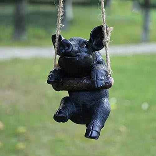 Amusing Pig Swinging Statue Figurine Indoor Outdoor Ornament Home Garden Decor (Black Pig)