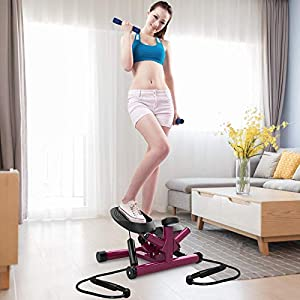 leikefitness Premium Portable Twist Stair Stepper Adjustable Resistance, Twisting Step Fitness Machine with Bands and LCD Monitor ST6610-2(Purple)