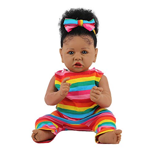 HOOMAI Lifelike Reborn Baby Dolls with Soft Body African American Realistic Girl Doll 22.8 Inch Best Birthday Gift Set