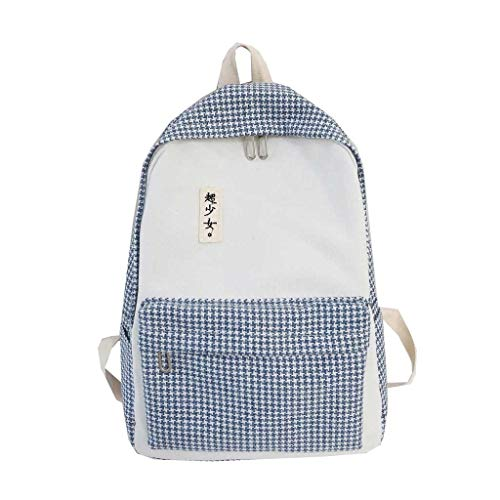Watopi 2019 Classic Plaid Backpack Casual Students Zipper Shoulder Bag Large Capacity Student Bag for College Outdoors Classroom