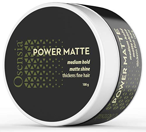 Matte Hair Clay - Water Based Hair Styling Gel with Matte Finish and Medium Hold for Natural Styling - Weightless Texture, No Residue, Thickens Fine Hair by Osensia, 3.4 Ounces