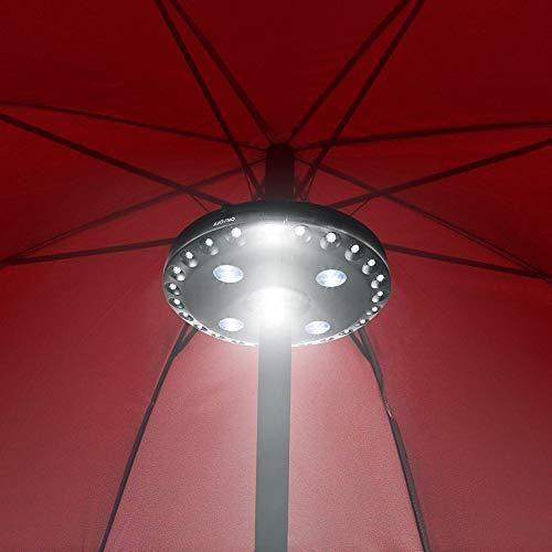 Sguan-wu Patio Umbrella Pole Light 28LED Jardín Exterior Patio Césped Noche Lámpara inalámbrica - Negro