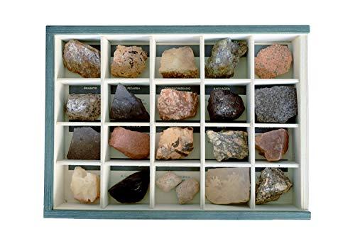 MINERALES Y FOSILES NANO Colección de 20 Rocas en Caja de Madera Natural - Rocas Reales educativas de Gran tamaño con Hoja de descripción. Kit Geología para niños