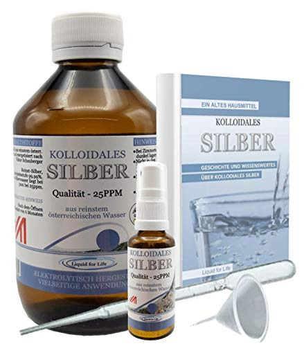 LIQUID FOR LIFE® Kolloidales Silber 25ppm - 1000ml Silberwasser - inklusive 30ml Sprühflasche und Zubehör, in STRAHLENSCHUTZVERPACKUNG und RATGEBER