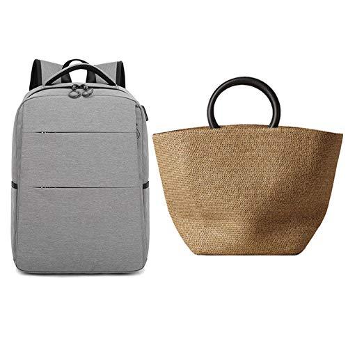 SNOWINSPRING Large Capacity Solid Color Straw Bags Women Handbag & Backpack Men's Shoulders Travel Bag Casual Female Light Gray