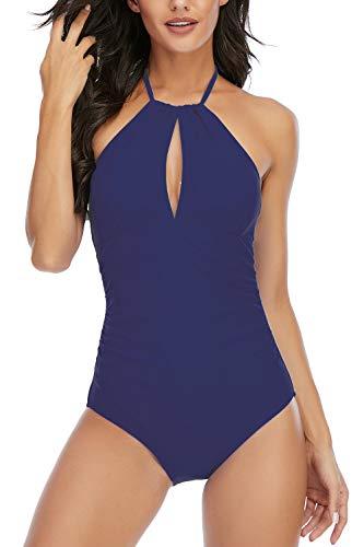 Women's Halter Tummy Control One Piece Bathing Suit Cutout Swimwear Backless Swimsuit Navy Medium