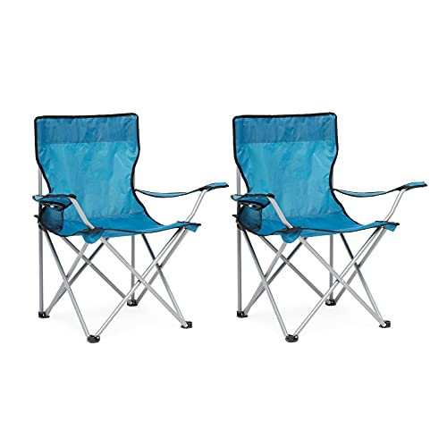 IWMH Klappbarer Campingstuhl 2er Set, Angelstuhl Faltstuhl Tragbarer Outdoor Gartenstuhl, Klappstühle mit Armlehnen und Getränkehalter, für Camping Reisen Angeln BBQ (Blau)