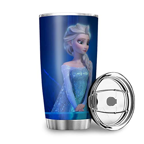 Generic Branded Taza de viaje azul de la princesa de Frozen de acero inoxidable aislado vaso de regalo para amigos para bebidas de hielo y bebidas calientes blancas 600 ml