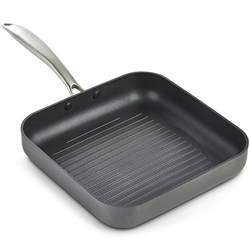 VonShef Aluminum Square Grill Fry Pan Premium Non-stick Hard Anodized Ridged Cookware, Induction Compatible, Safe for Stove and Oven- 10 Inch, Gray