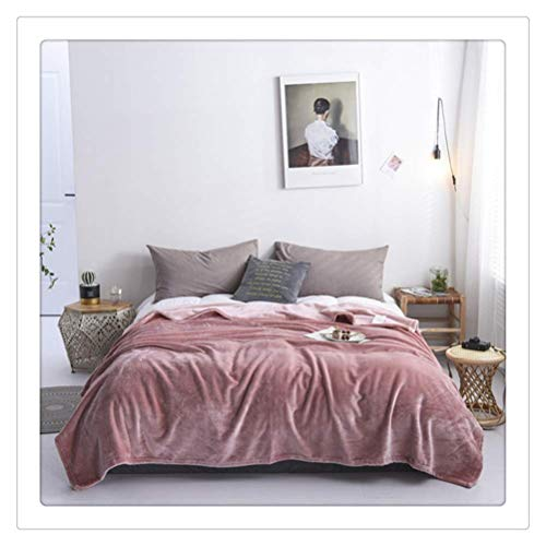 GUOXY Manta para mascotas de 500 g/m² de franela suave para camas de visón sintético, manta para cama individual, tamaño queen, manta cálida de invierno, color rosa, 100 x 150 cm