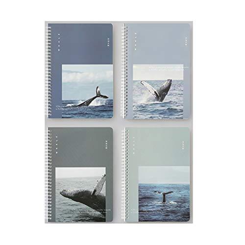 Agenda de oficina, 4 paquetes de cuadernos en espiral, colección de cuadernos, libro diario, 68 hojas, 136 páginas, para oficina, escuela, viaje, cuadernos, escritura (color A)