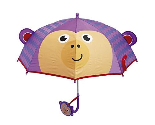 ARDITEX Parapluie Pour Enfant Fisher-Price Le Singe 3D En Polyester 38Cm Regenschirm, 56 cm, Violett (Violet)