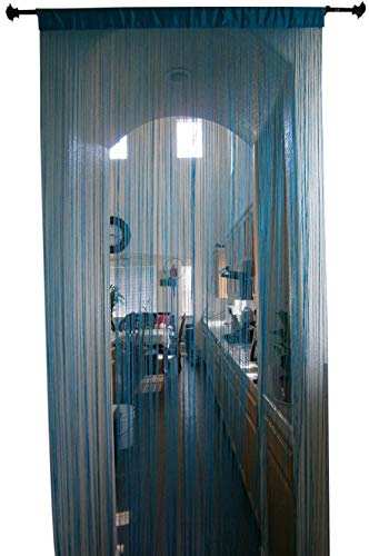 OctoRose Sexy String Thread Fringe Curtain Panel 40x110 inch (Teal Blue)