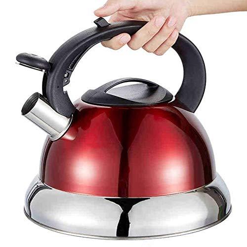 Bouilloire induction Whistling thé Bouilloire - Poignée, acier inoxydable chirurgical Teapot for tous une cuisinière, 3 litres WHLONG