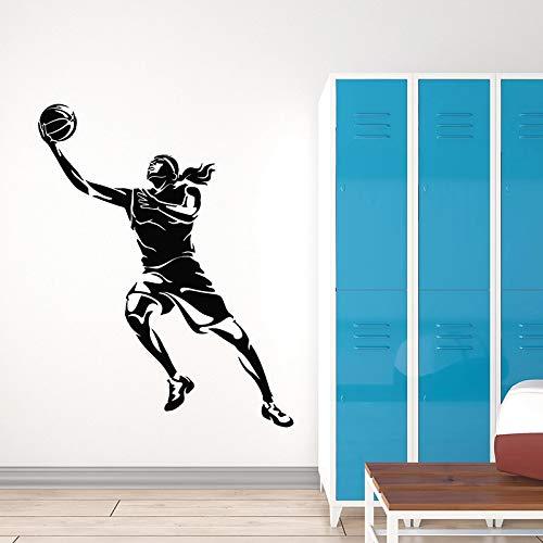 WERWN Calcomanías de Pared de Baloncesto Juego de Deportes de Pelota Jugadores de Salto Vestuario Adolescentes Dormitorio Estadio decoración de Interiores Vinilo Adhesivo Mural