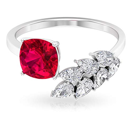 2.15 Ct Cushion Cut Ruby Solitaire Ring, 0.7Ct SGL Certified Pear Shape Diamond Ring, HI-SI Color Clarity Diamond Leaf Open Ring, Bridesmaid Cuff Ring, 18K White Gold, Size:UK W1/2