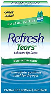 Refresh Tears Lubricant Eye Drops, 2 Bottles 0.5 fl oz ,15mL each Sterile ,30mL