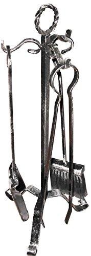 Tris trespolo utensili attrezzi in ferro kit per camino pinza paletta e scopetta
