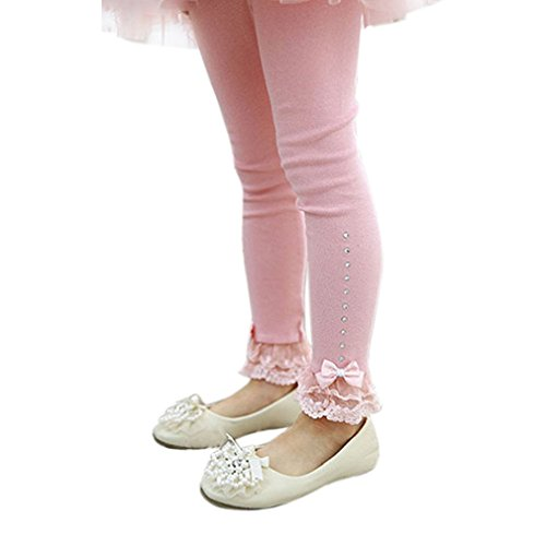 Tonsee 2016 Spring Flower Girl Hose Baby Mädchen Leggins Kinder Baumwolle Mode Legging Kinder Herbst Hose Mädchen Leggins (140, Rosa)