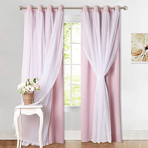 PONY DANCE Pink Curtains with Sheer - Living Room Elegance Crushed Voile with Blackout Drapes Window Covering for Nursery Girl, 52 by 95 inches, Light Pink, 2 PCs
