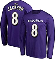 NFL Youth Team Color Mainliner Player Name and Number Long Sleeve Jersey T-Shirt (Youth X-Large 18-20, Jackson Baltimore Ravens Purple)