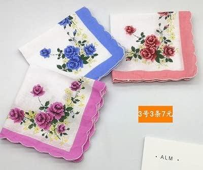 SushiSwap 3pcs Flower Lady Handkerchief White Towels Women Wedding Party Scallop Cotton Handkerchiefs Ladies Mendil Zakdoek Katoen H10 - See Chart - 219797