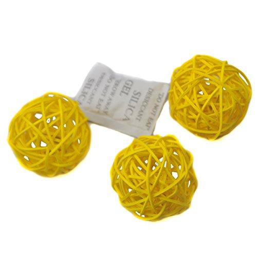 Ougual 10 Piezas Bolas de ratán Mimbre Mesa Boda Fiesta Navidad decoración 5cm Amarillo