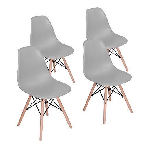 Sweethome - Juego de 4 sillas de comedor para cocina, comedor, sala de estar, cafetería y casa de huéspedes, diseño moderno de madera natural y respaldo de PP.