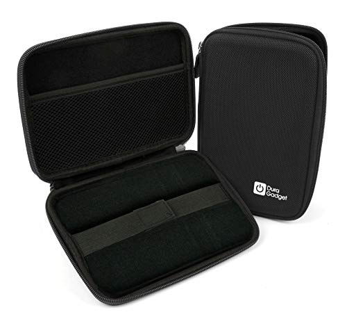 DURAGADGET Black Shell Hard EVA Cover Case with Dual Zips - Compatible with Pyle Home PDH7 7-Inch Portable TFT/LCD Monitor with Built-in DVD Player MP3/MP4/USB SD Card Slot
