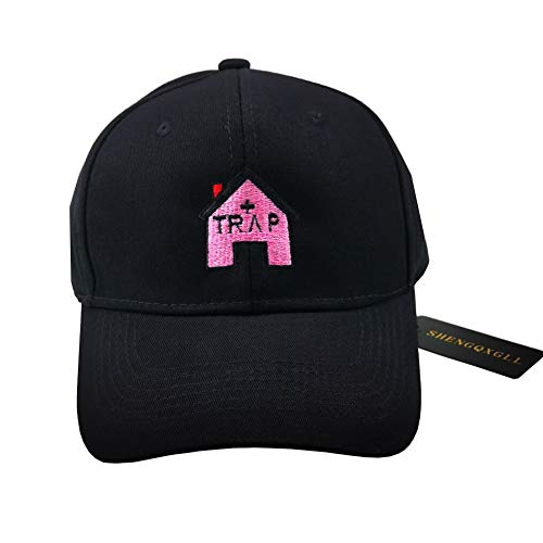 SHENGQXGLL Trap House Baseball Cap Embroidery Trap Music 2 Album Rap Dad Hat Hip Hop Hat Snapback Cap (Black)