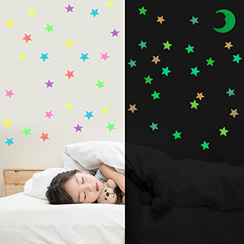 Glow in The Dark Stars and Moon, 200pcs 3D Adhesive Glowing Stars Stickers Ceiling Wall Decor for...