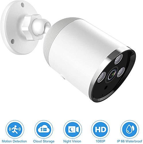 1080P WLAN IP Kamera HD Überwachungskamera mit Nachtsicht Aussen Innen IP66 Wasserdichter WiFi HD Überwachungskamera mit Bewegungserkennung Zwei-Wege-Audio-Nachtsicht-Abschreckalarm