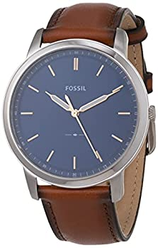 Fossil Men s The Minimalist Quartz Stainless Steel and Leather Three-Hand Watch Color  Silver Luggage  Model  FS5304