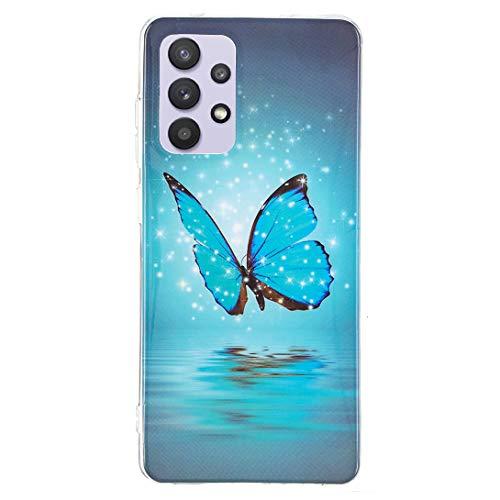 Pheant Kompatibel mit Samsung Galaxy A32 5G Hülle mit Leuchtendes Schmetterling Motiv Leuchten in der Nacht Handyhülle Silikon Schutzhülle für Samsung Galaxy A32 5G