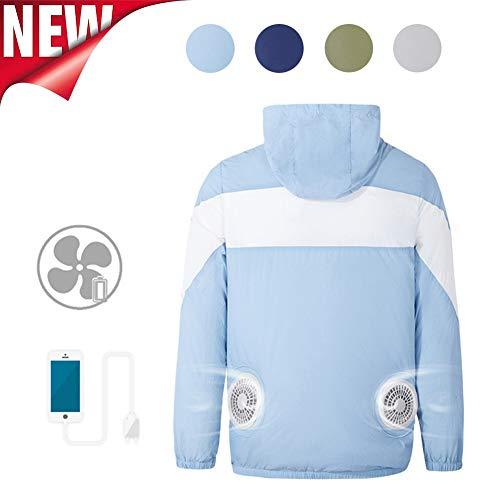 Klimaanlage Kühlung Jacke mit Lüfter, Sonnenschutz Kühlmantel mit Tragbar Klimatisierte Ventilator, USB Wiederaufladbare, Cooling Arbeitskleidung Eisjacke für Im Freien Angeln Reisen,Light blue,XXL