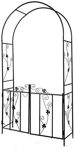 LLDKA Rose Garden Arco con Puerta, Estructura metálica Plantas textuales, Patio al Aire Libre Arbor Pergola Arco 214x110x37cm