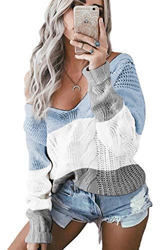 Socluer Oversize Pullover V Neck Loose Sexy Strickpullover Winter Pullover Langarm Pulli Oberteile Outwear für Damen (Blau M)