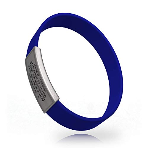 Road ID - Premium ID Bracelet - The Wrist ID Stretch - 13mm Wide - Silicone Wristband - for Athletes - 5 Colors