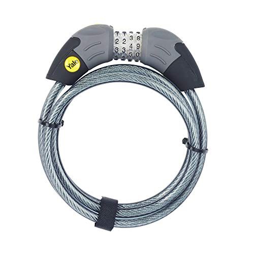 Yale YCC1/10/185/1 - Standard Combination Cable Bike Lock 1800mm - Steel Ball Click Gear System - Lightweight