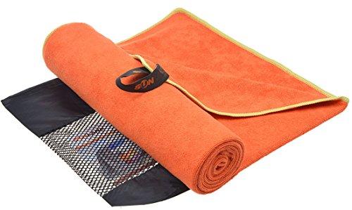 Sunland Extra saugfähiges Mikrofaser Sporthandtuch Workout-Handtuch Fitnesshandtuch Handtücher Terry Stoff (Orange, 60cmx120cm)