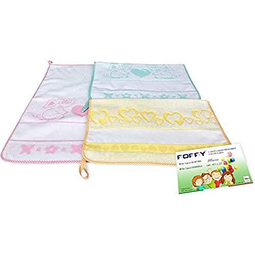 Set mit 3 Handtüchern für Kindergarten, Mädchen, Poppy© cm. 40 x 55 cm, Reine Baumwolle, weiblich mit Aida-Stoff zum Sticken
