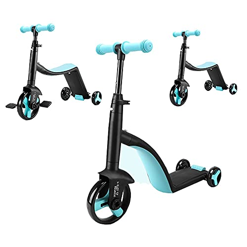 DODOBD 3-in-1 Monopattino per Bambini, Triciclo Scooter a 3 Ruote Kids Scooter con Freno Posteriore Regolabili in Altezza per Bambini e Ragazzi dai 2 ai 12 Anni, Carico Massimo 90 kg