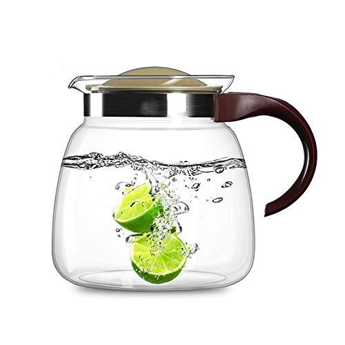 ANXI Theepot 1800ml/60.87oz Glas Pitcher Met Handvat En Strainer Deksel Karaf Hittebestendigheid Druppelvrije Fles Voor Sangria Heet En Koud Water Melk Voor Thee