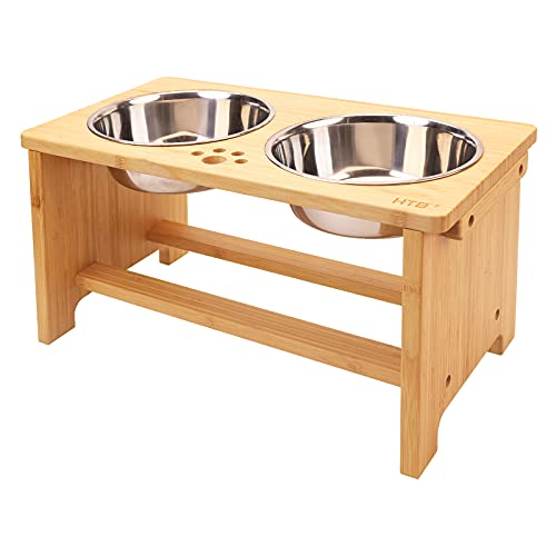 Elevated Dog Bowls,Raised Dog Bowl Stand with 2 Stainless Steel Bowls,Dog Food Water Bowls