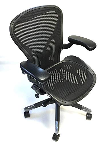 Herman Miller Aeron Loaded Chair with PostureFit: Size:B Graphite Frame Pellicele Classic Carbon Fabric (Renewed)