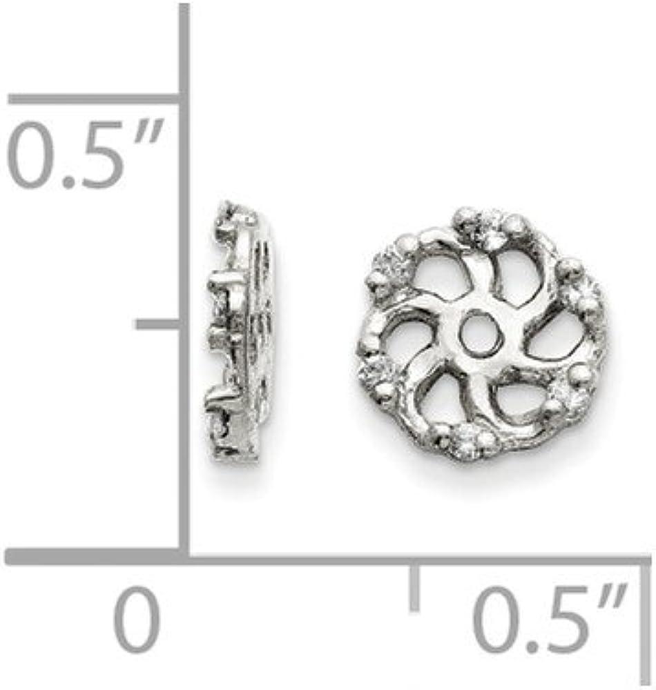 Solid 14k White Gold Diamond Earring Jacket 8mm (.048 cttw.)