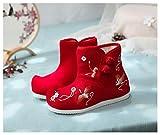 YUTJK Pantofole Unisex Invernali Soletta Memory in Feltro Caldo Invernale Antiscivolo Inverno Scarpe,Scarpe da Bambina Ricamate in Velluto di Cotone-Rosso_17 cm