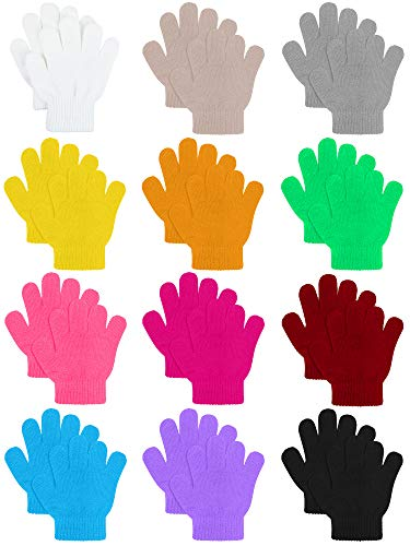 Cooraby 12 Pairs Kids Warm Magic Gloves Teens Winter Stretchy Knit Gloves Boys Girls Knit Gloves (Mixed Colors G, 4-6 Years)