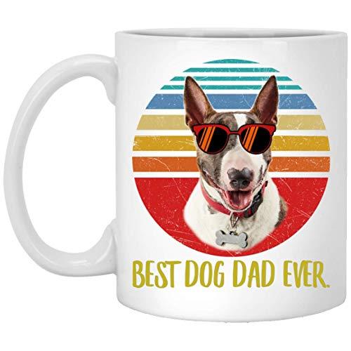 N\A Funny Best Bull Terrier White Brindle Dad Ever Sunset Taza de café Retro 11 oz