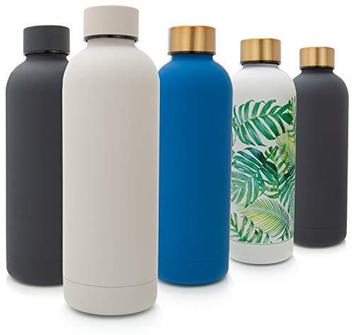 T&N Edelstahl Trinkflasche 500ml – Thermosflasche für Büro – auslaufsichere Wasserflasche für Kohlensäure – Thermoskanne unterwegs – Isolierflasche Tee Kaffee – Flasche Sprudel-Wasser